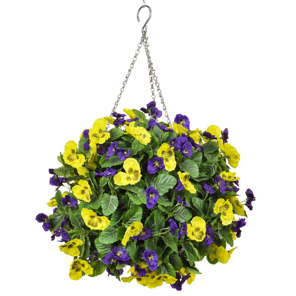HB Pansy C Large Ball Purple Yellow 40cm