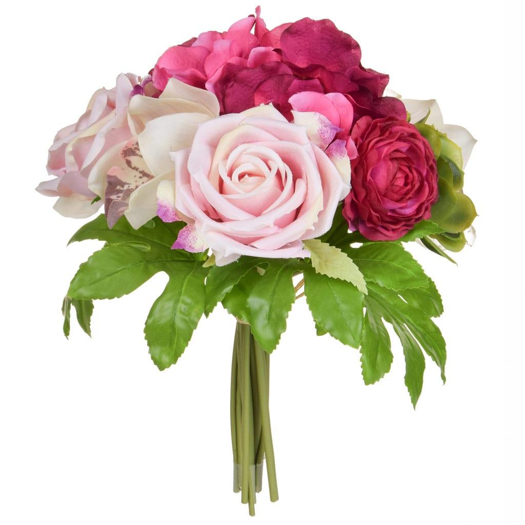 SF Hydrangea & Rose Spray Pink XY 29cm