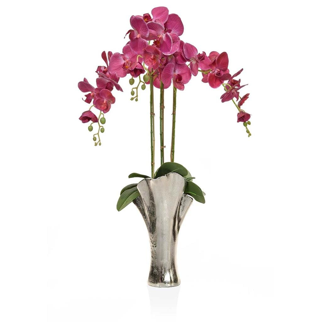 AN-Dk Pink Orchids XJ in Tall Leaf Vase 85cm