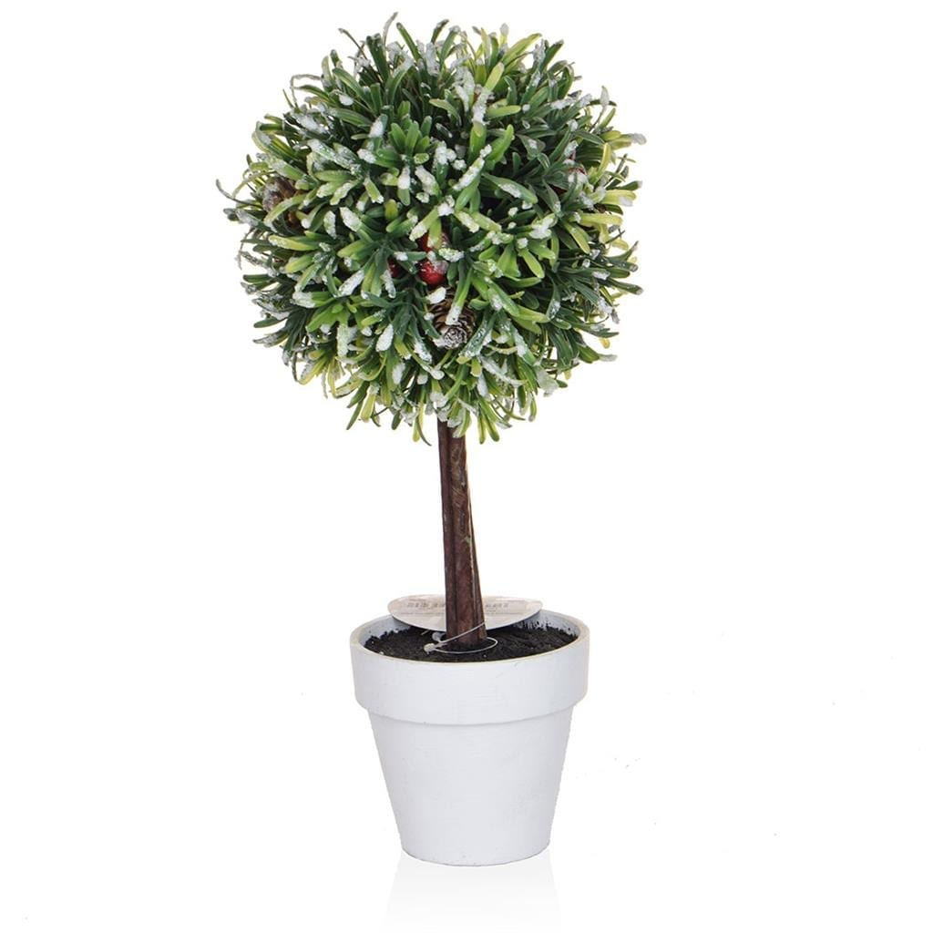 CH-Topiary Ball with White Pot 32cm
